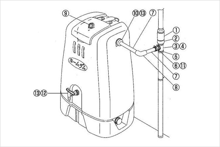 コダマ樹脂工業製ホームダム250リットル用パーツ【部品番号:11 ホースバンド2個入り】