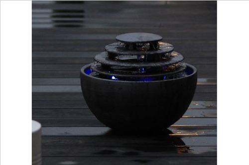 信楽焼屋内設置用水琴窟スリッター琴音ボール 型番220(いぶし銀)