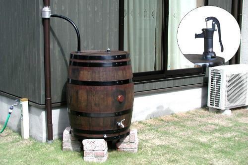 ウイスキー樽雨水タンクアーサー180リットル アメリカンポンプ付き