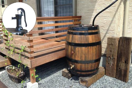 ウイスキー樽雨水タンク樽王250リットル アメリカンポンプ付き