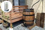 ウイスキー樽雨水タンク樽王250リットルドイツ製雨水コレクター付丸ドイ60mm用